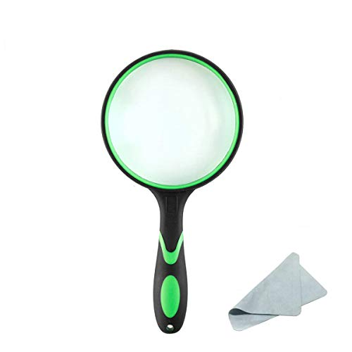 20X Shatterproof Magnifying Glass Handheld Reading Magnifier - 100MM Large Magnifying Lens with Non-Slip Soft Handle for Book Newspaper Reading, Hobby Observation, Classroom Science, Maps, Coins