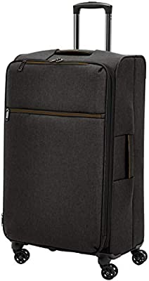 AmazonBasics Belltown Softside Rolling Spinner Suitcase Luggage - 21-Inch, Heather Black