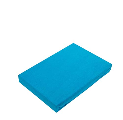 Exklusiv Heimtextil - Sábana bajera ajustable con goma elástica en todo el contorno, algodón, turquesa, 60 x 120 - 70 x 140 cm