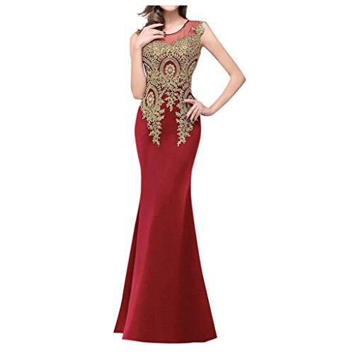 Janly - Vestido de novia largo para mujer, vestido de fiesta formal, vestido de baile de dama de honor, sirena con cuentas para el día de San Valentín, Vino, S