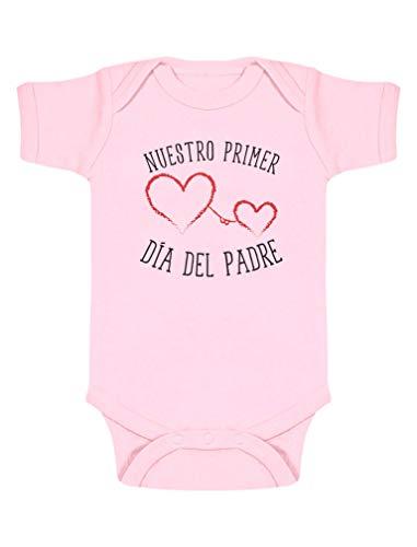 Body de Manga Corta para bebé - Regalo Dia del Padre Bebe - Nuestro Primer Día del Padre 0-3 Mes Rosa