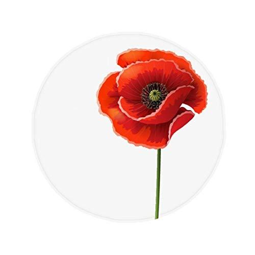 DIYthinker Fleur Rouge Art Peinture Corn Poppy Simplicité antidérapant Tapis de Pet de sol rond de salle de bain salon cuisine Porte 60/50 cm Cadeau, Polyester filé, multicolore, 50X50cm
