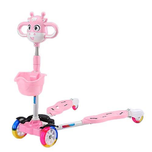 Scooter perfecto para niños, cuatro ruedas con pies apartes, scooter plegable para niñas y niños, 3 altura ajustable, ruedas iluminadas para niños de 3 años en adelante Kick Scooter para niños