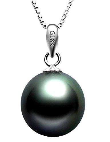 Paialco - Collar con colgante de perlas negras de Tahití cultivadas en oro blanco de 18 quilates con cadena de 18 pulgadas (plata esterlina)