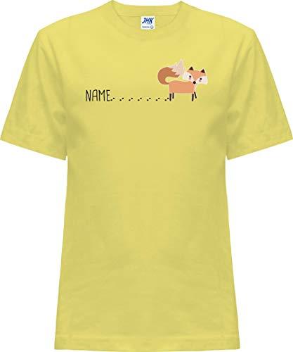 Kleckerliese Nicki T-shirt à manches courtes pour bébé et fille avec inscription en allemand « Tierfuchs mit Spur Name Fox » - Jaune - 2 ans