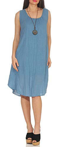 Matyfashion angesagtes Sommerkleid Strandkleid Maxikleid mit Tupfen Freizeitkleid 35 (Jeansblau)
