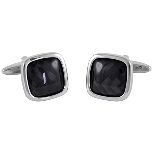 Lindenmann Classic G.CHABROLLE Cufflinks/Cuff Buttons, Silvery, Carbon Inlay, with Gift Box, 189