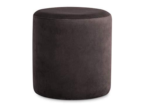 moebel-eins POUFI Hocker rund Pouf Polsterhocker Sitzhocker Sitzwürfel Fußhocker Bezug Samt, braun