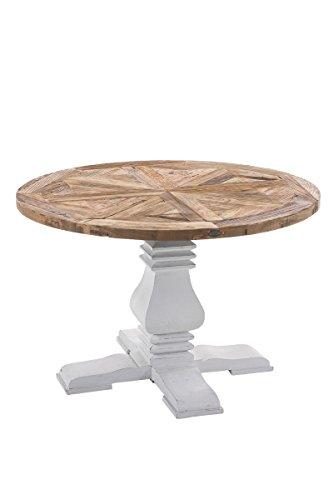 CLP Esszimmertisch GAJUS aus Holz | Handgefertigter Holztisch im Landhausstil | Runder Tisch mit weißem Untergestell | In verschiedenen Größen erhältlich Durchmesser Ø 120 cm