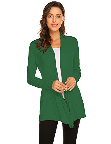Newchoice Womens Classic Long Open Front Lightweight Soft Drape Cardigans Loose Flowy Long Sleeve Cardigans (Green, XL)