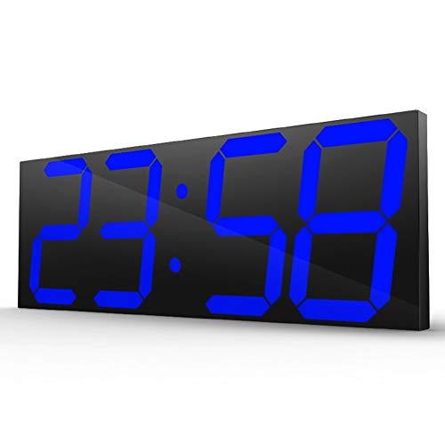 LNLJ - Reloj de pared digital con mando a distancia LED de 6 pulgadas, multifunción LED, calendario, despertador, termómetro, para la oficina, recepción, aeropuerto, gimnasia, color azul