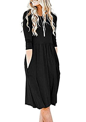 Yidarton Women's Long Sleeve Elastic Scoop Neck Casual Knee Length Tunic Autumn Dress with Pocket