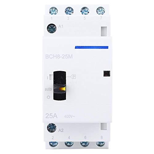Contactor modular de CA para el hogar 4P 25A 230V con interruptor de control manual Contactor de CA para el edificio Control eléctrico Montaje en carril DIN Contactor en miniatura (4NO)