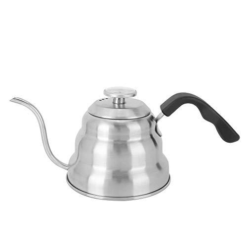 Cafopgrill roestvrijstalen theepot, roestvrijstalen warmwaterkruik in Japanse stijl met kleine mond, handwas koffieantislip pot met thermometer