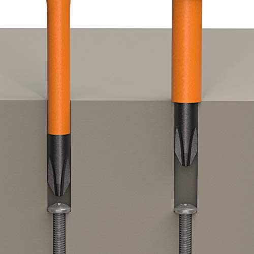 Klein Tools 33734INS 1000V Slim Tip Insulated Screwdriver Set, Phillips, Cabinet, Square Slim-Tip, Cushion Grip Handle, 4-Piece