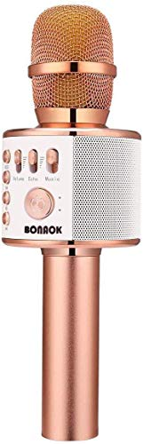 BONAOK Wireless Bluetooth Karaoke Microphone,3-in-1 Portable Handheld Karaoke Mic Speaker Machine Christmas Birthday Home Party for Android/iPhone/PC or All Smartphone(Q37 Rose Gold) (Renewed)