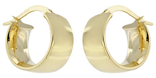 Hobra-Gold Breite Creolen Gold 585 kleine Ohrringe 1,4 cm Ø Damen Herren Ohrschmuck 14 Kt.