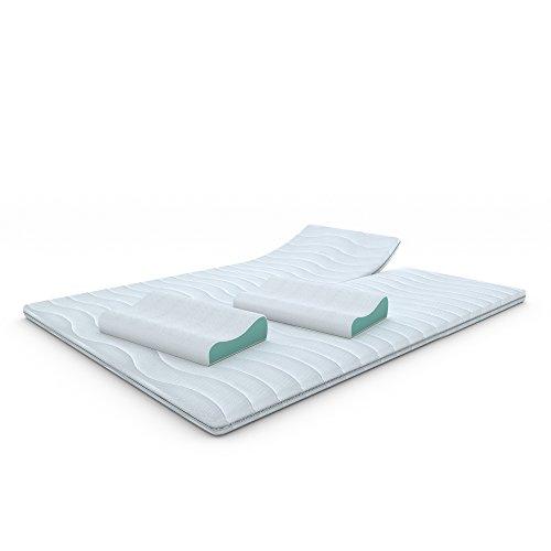 MSS® Kaltschaumtopper H4 + Gratis Gelschaumkissen / 200 cm x 180 cm Split + 2 Kissen, orthopädische Matratzenauflage mit versteppten Bezug