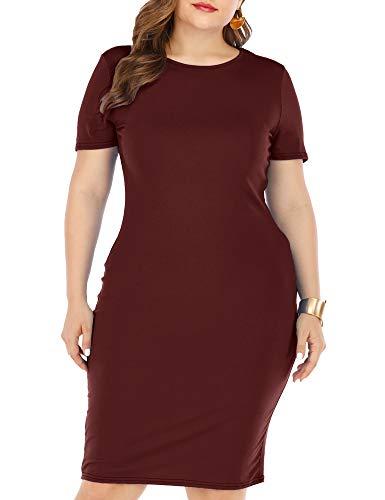 GXLU Women's Plus Size Short Sleeve Knee Length Sundress Casual Bodycon T Shirt Dress Burgundy 4X