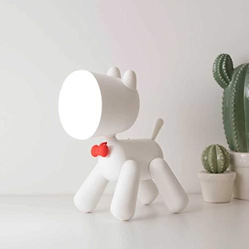 FENGZE Welpentischlampe Mit Leselampe Niedliche Kindernachtlampe Welpennachtlampe Kleine Nachtlampe USB-Tischlampe weiß