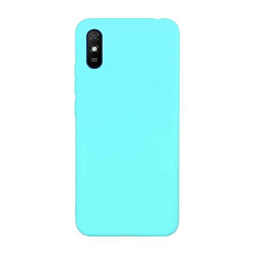 cuzz Custodia Xiaomi Redmi 9A+{Film di Vetro temperato}Silicone TPU Cover Morbida Protettiva Custodia Ultra Sottile Leggero Cover-Blu Chiaro