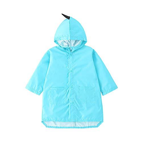 Moent Impermeable para niños, dinosaurio tridimensional a prueba de viento y a prueba de lluvia chaqueta con capucha, para niños de Pascua, regalos de fiesta (azul, XL)