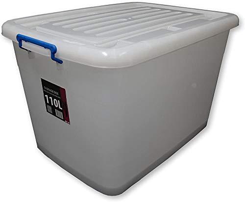 ASDASD - Cajas de almacenamiento de plástico, 110 L, con ruedas y tapas de clip, plástico, 30 Boxes