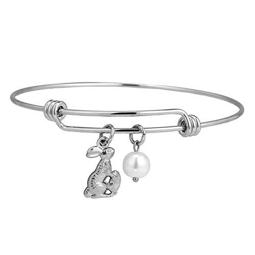 Christian Easter Gifts for Girls Bunny Costume Jewelry Idea Rabbit Holding Easter Egg Bangle Bracelet Stainless Steel Silver