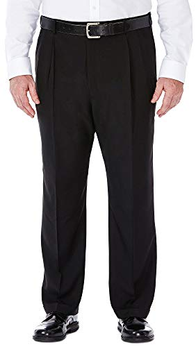 Haggar Men's Big-Tall Repreve Stria Pleat Front Dress Pant, Black, 44x29