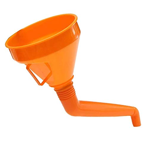 Embudo de combustible en ángulo con filtro de malla y mango, no requiere dos personas para usar naranja.