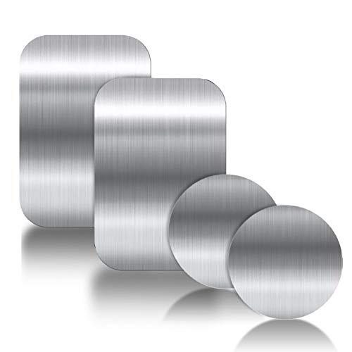 YGKJ 4 Piezas láminas Metálicas con Adhesivos Muy Finas Reemplazo de Placas de Metal para Soporte Movil Coche Magnético/Soporte iman movil Coche (2 Redondas y 2 rectangulares) (Plata)