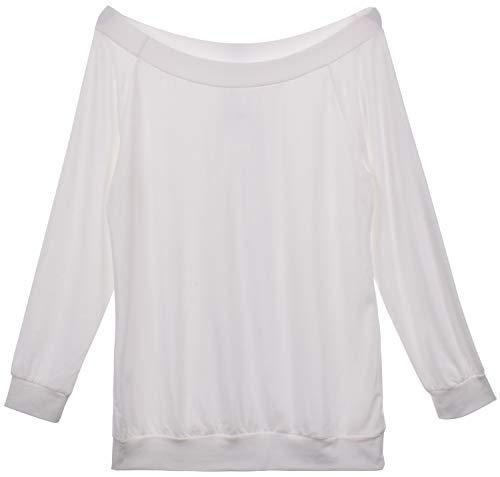 Yuson Girl Casual CamisetasMangaLargaMujer CamisaMujer Fuera del Hombro RopadeMujer Sexy Suelto Mujer Ocasionales Flojas Atractiva Elegante Moda (Blanco,XXL)