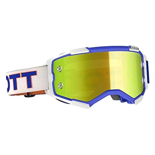 Scott Fury MX Goggle - Gafas de esquí para bicicleta de montaña, color blanco, azul y amarillo