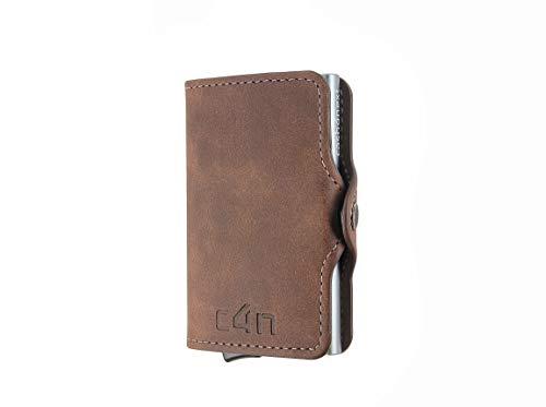 Cash4next® - Cartera para hombre y mujer, tarjetero para tarjetas de crédito, con bloqueo RFID, anticlonación, blindado, de aluminio fino y ligero