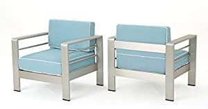 Christopher Knight Home Crested Bay Outdoor Silver Aluminum Framed Club Chairs with Light Teal and White Corded Water Resistant Cushions (Set of 2)