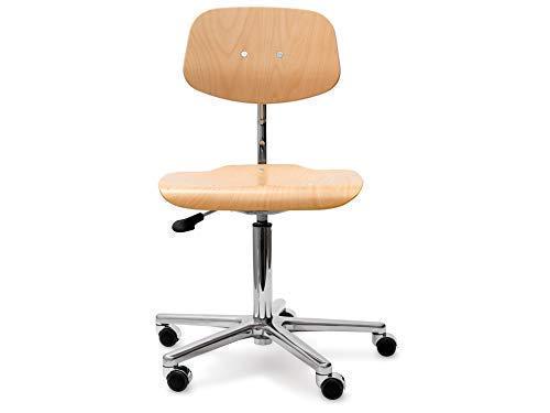 Modulor höhenverstellbarer Arbeitsstuhl, ergonomischer Drehstuhl aus Buchenholz, Schreibtischstuhl mit Gasfeder und Fußkreuz aus Alu, Natur