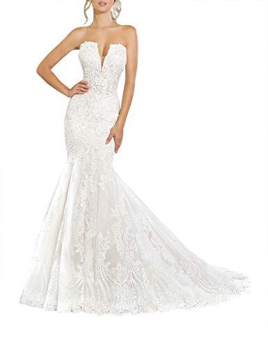 SongSurpriseMall Brautkleider Hochzeitskleider Prinzessin Meerjungfrau Hochzeitskleid Spitze Brautkleid V-Ausschnitt Rückenfrei Weiß 34