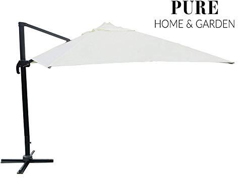 Pure Home & Garden XXL Pendelschirm Colossal 400x300 Natur inklusive Ständer, UV-Schutz 50 Plus, 360 Grad drehbar und am Mast neigbar