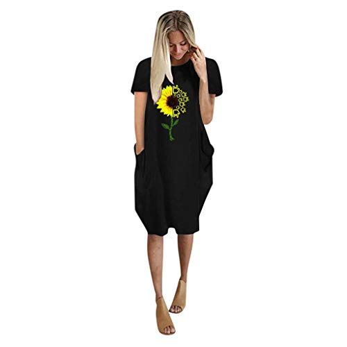 TWIFER Dresses for Women Casual Summer, Plus Size Sleeveless Mini Dress Ladies Oversized Loose Printed Dress with Pocket Black