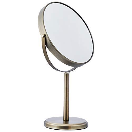 AmazonBasics - Specchio cosmetico bifacciale con sostegno a piantana, Peltro
