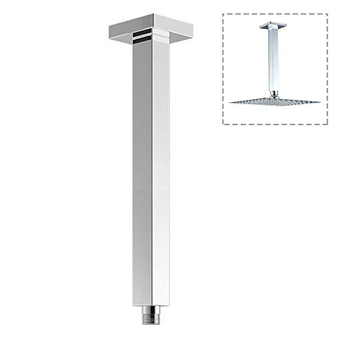 Drenky 8 Inch Round Thicken Stainless Steel Ceiling Shower Arm Straight Ceiling Mounted Shower Arm with Flange for Ceiling Rainfall Shower Heads Polished Chrome Finished Come with Teflon Tape