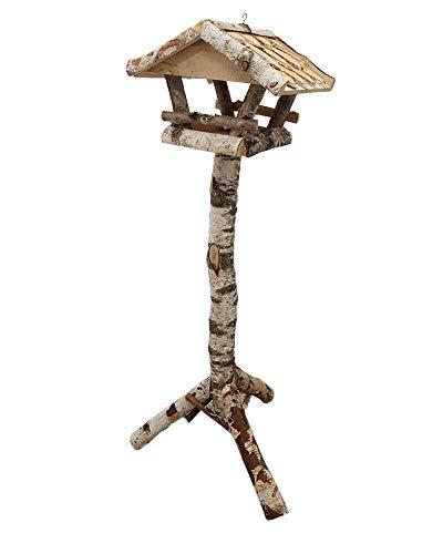 Vogelhaus mit Ständer wetterfest aus Holz, vogelfutterhaus, Futterhaus, Futterstation für Wildvögel, Vogelfutterhaus zum Stellen für den Garten oder Balkon