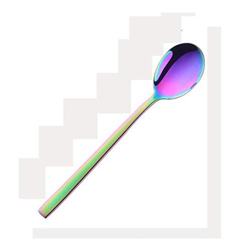 Hong Yi Fei-shop Cucchiaio di Colore della minestra Cucchiaio Rotonda in Acciaio Inox Cucchiaio, Titanio Placcato Posate commestibile Cucchiaio Addensare Soup Spoon 7.5in (Arcobaleno) Cucchiai Cinesi