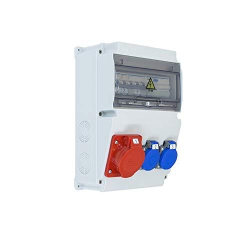 Caja de obras trifásica ASTAT 120 Plus IP65 1x16A/5P, 2x230V SCHUKO IP44, disyuntores HAGER EDO777147