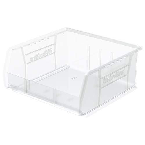 Akro-Mils 30235 AkroBins Plastic Storage Bin Hanging Stacking Containers, (11-Inch x 11-Inch x 5-Inch), Clear, (6-Pack)