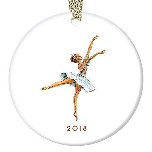 Cukudy Vintage Notenkraker Ballerina Ornament 2018, Suikerpruim Fee Ballet Keramische Kerst Ornamenten 2018 Nieuwigheid, Platte Cirkel Kerstmis Ornament Glanzende Glaze