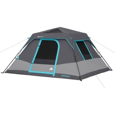 Ozark Trail 6-Person Dark Rest Instant Cabin Tent, Includes rainfly with factory sealed seams, Carry bag and Tent stakes