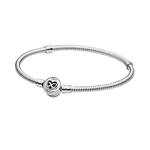 Pandora 599365C00 - Pulsera de plata para mujer, diseño de infinito y corazón, 18 cm, Metal no noble., No aplicable,