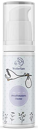 WobeSan vegane und natürliche Brustwarzensalbe - beruhigende Pflege bei gereizten und rissigen Brustwarzen nach dem Stillen – 30 ml lanolinfreie Brustwarzencreme ohne Parfüm – von Hebammen empfohlen