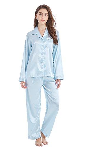 Tony & Candice Damen Schlafanzüge Lang Satin Lang Pyjama Set Nachtwäsche (XL, Hellblau)